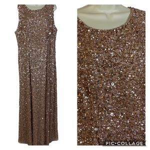 NWT Adrianna  Papell Rose Gold beaded gown